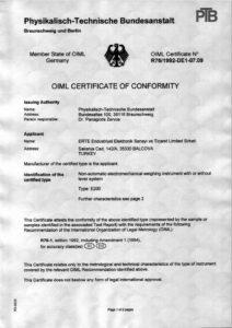 E200 OIML Sertifikası